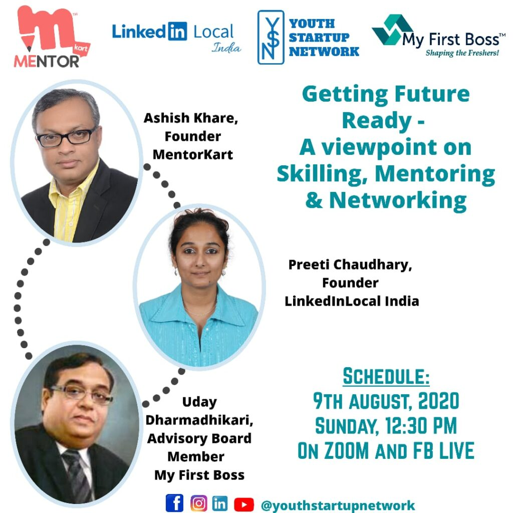 future ready by youth startup network webinar session with ashish khare, preeti chaudhary and uday dharmadhikari